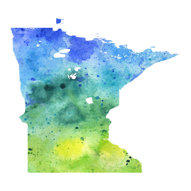 map of minnesota with watercolor texture - raster illustration - lake superior stock illustrations, clip art, cartoons, & icons