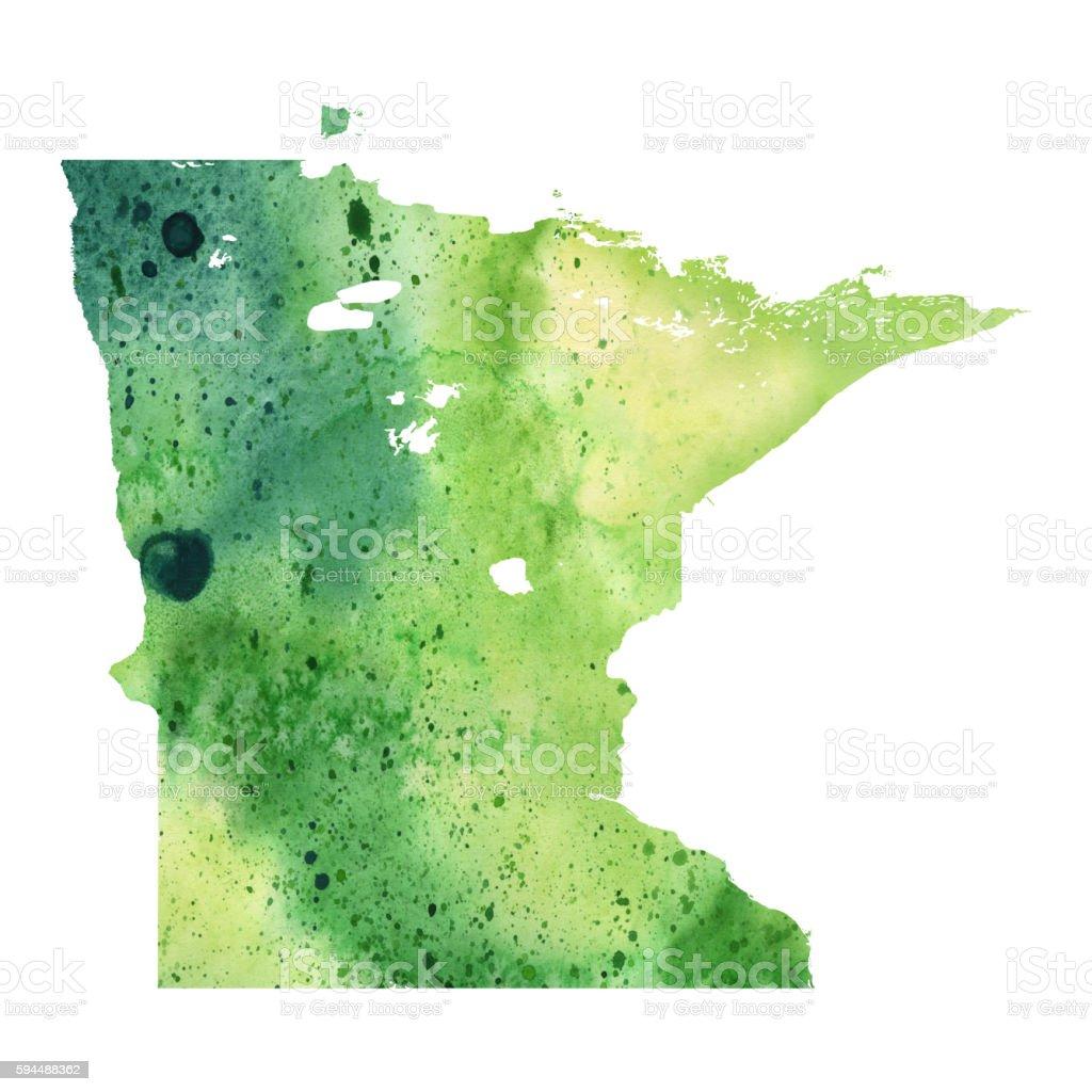 Map of Minnesota with Watercolor Texture - Raster Illustration vector art illustration