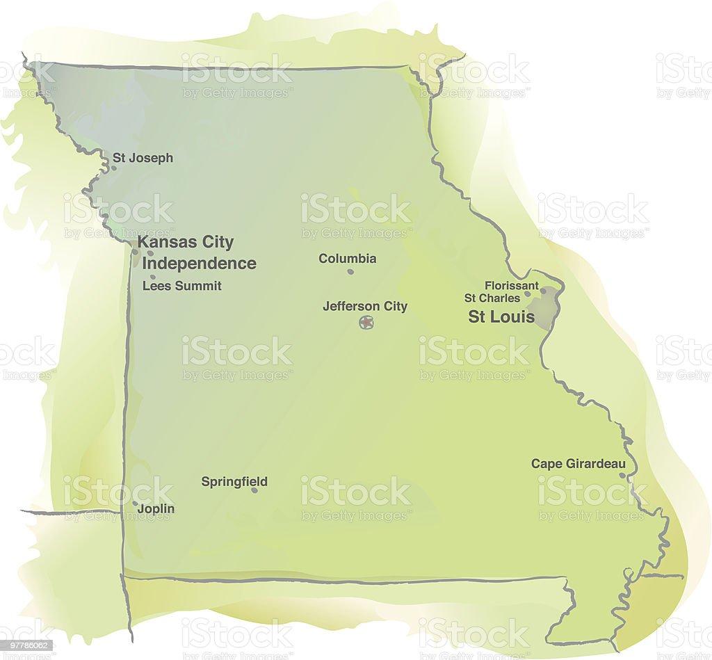 Map of Missouri - Watercolor style vector art illustration