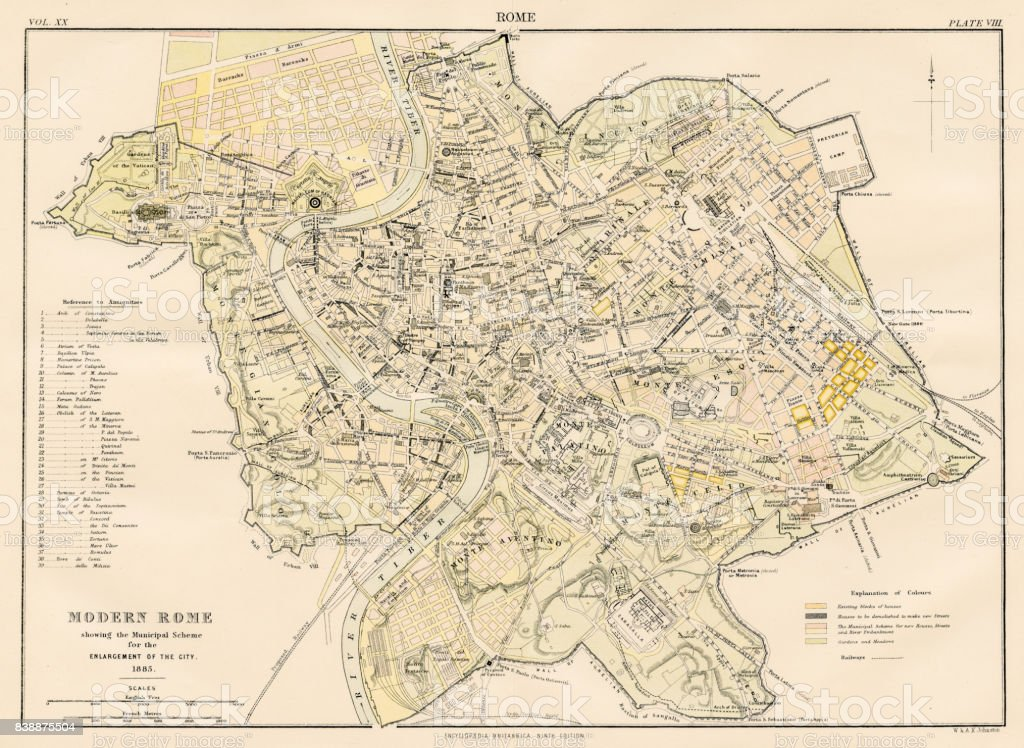 Modern Map Of Italy.Map Of Modern Rome 1883 Stock Illustration Download Image Now Istock