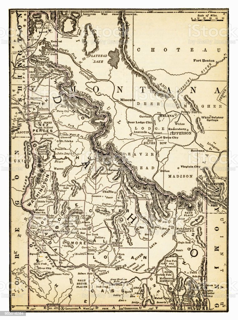 Montana And Idaho Map.Map Of Montana And Idaho 1893 Stock Vector Art More Images Of
