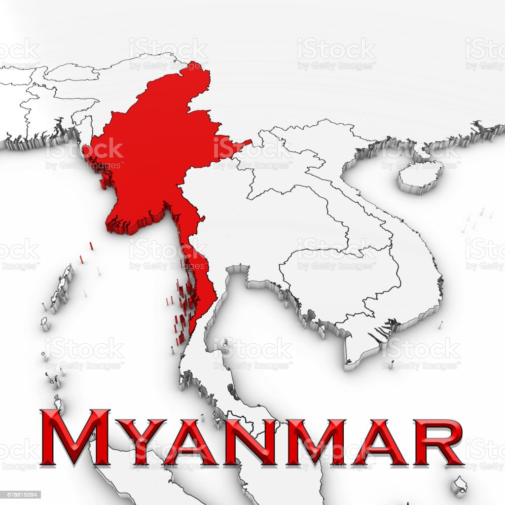 3d map of myanmar with country name highlighted red on white 3d map of myanmar with country name highlighted red on white background 3d illustration royalty gumiabroncs Images