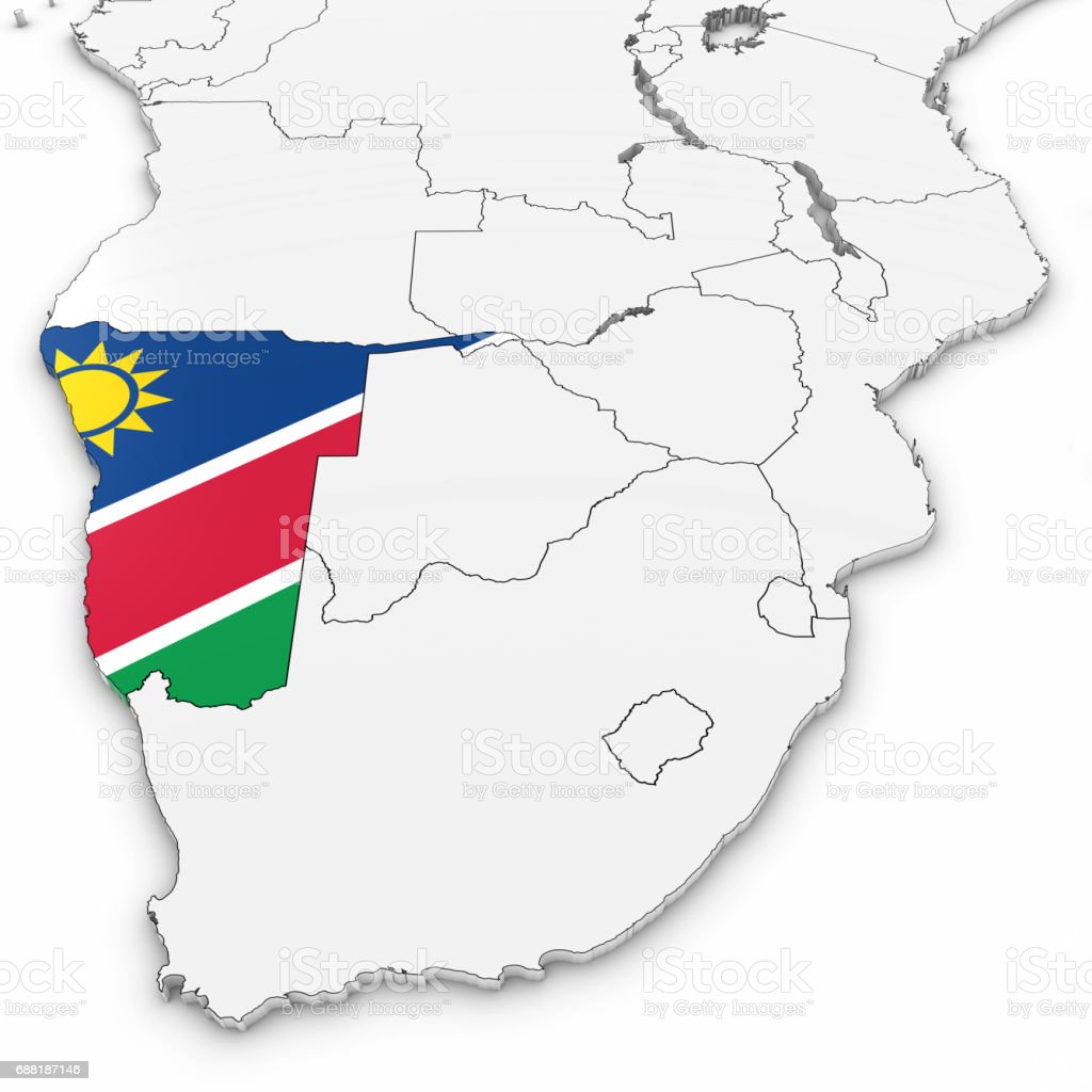 3d Map Of Namibia With Namibian Flag On White Background 3d ...