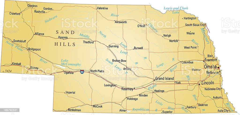 Map of Nebraska vector art illustration