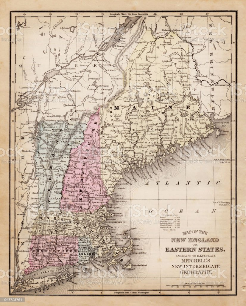 Map Of New England State 1881 Stock Vector Art & More Images of ...