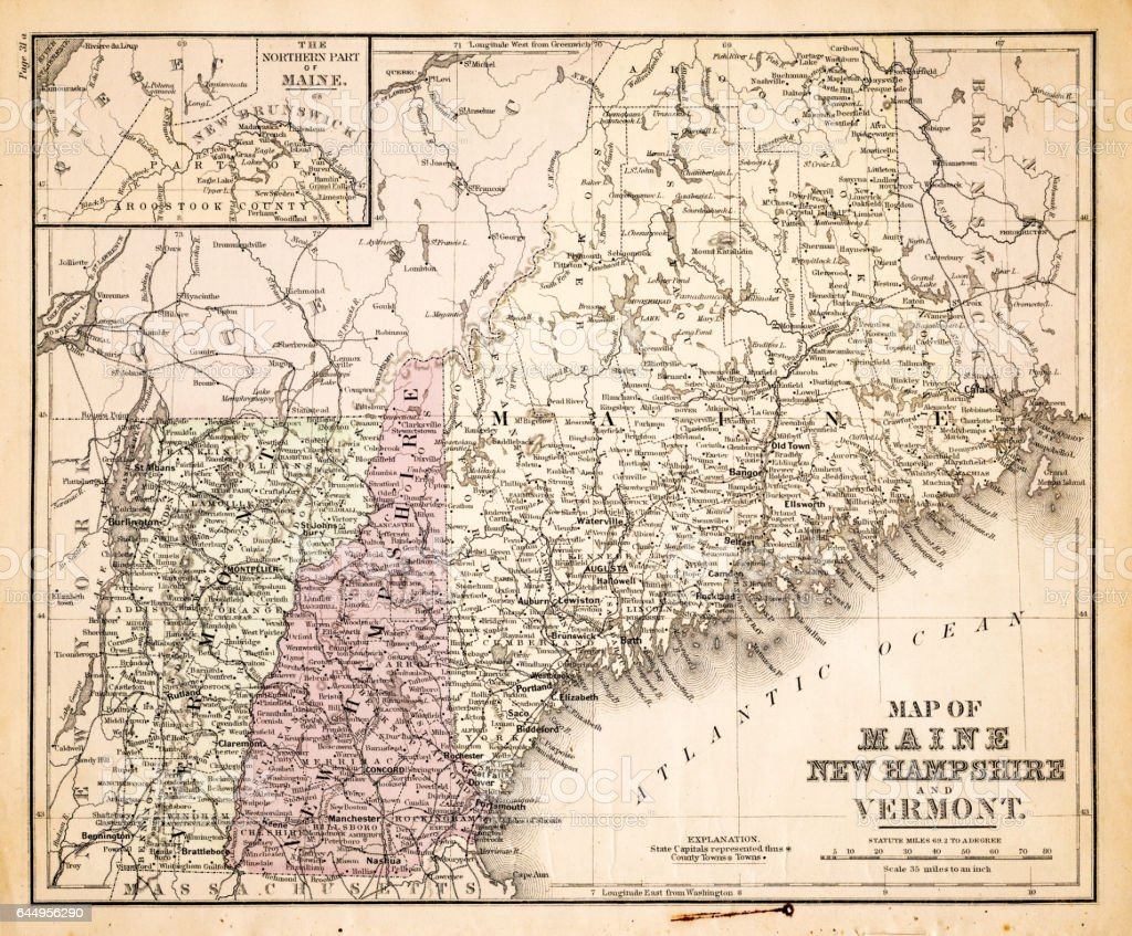 Map Of New Hampshire Usa 1883 Stock Vector Art & More Images of ...