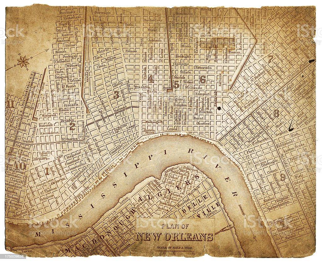 map of new orleans 1879 vector art illustration
