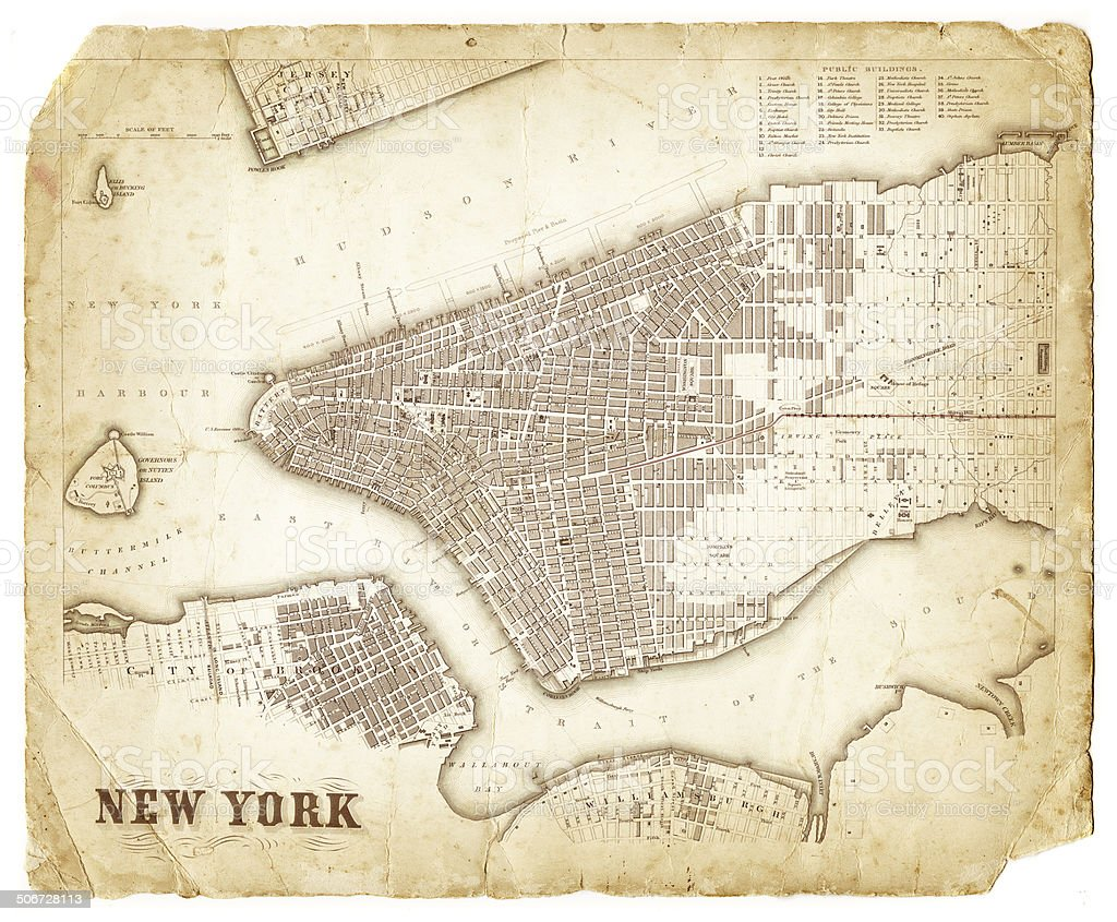map of new york city 1840 vector art illustration