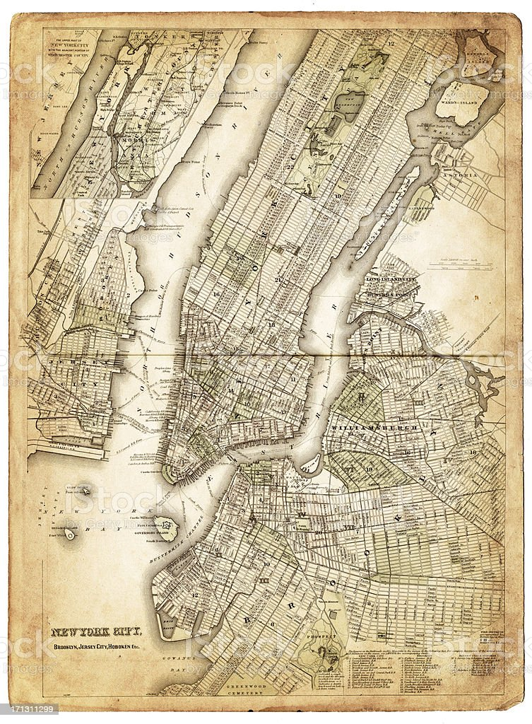 map of new york city 1874 vector art illustration