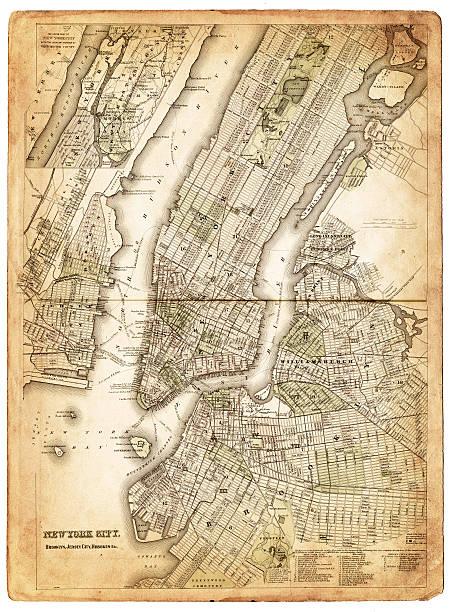 map of new york city 1874 - new york map stock illustrations, clip art, cartoons, & icons
