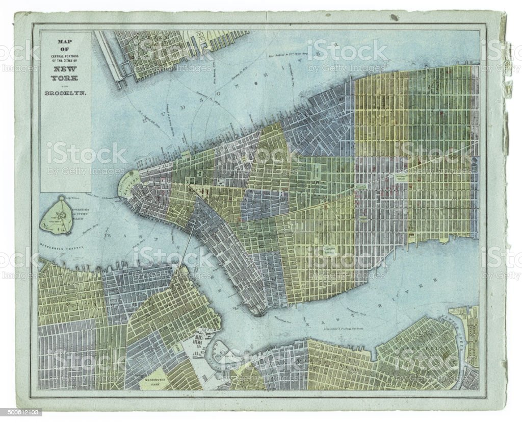 map of new york city 1883 vector art illustration