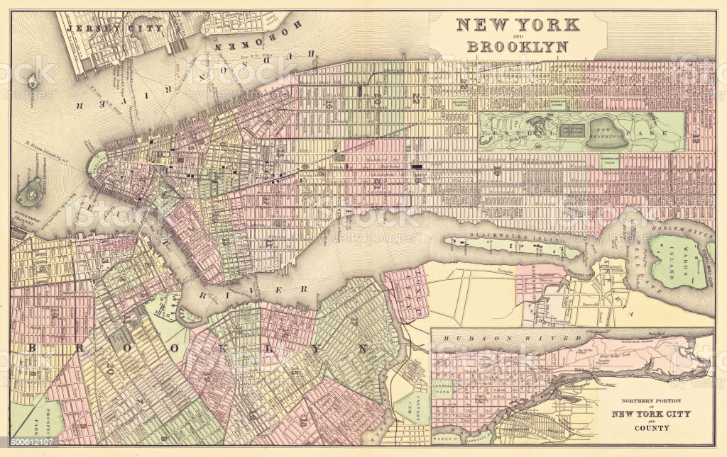 map of new york city 1886 vector art illustration