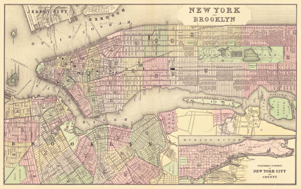map of new york city 1886 - new york map stock illustrations, clip art, cartoons, & icons