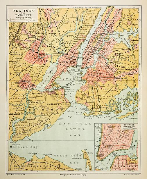 map of new york city 1895 - new york map stock illustrations, clip art, cartoons, & icons