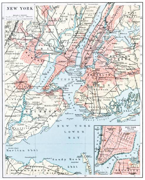 map of new york city 1896 - new york map stock illustrations, clip art, cartoons, & icons