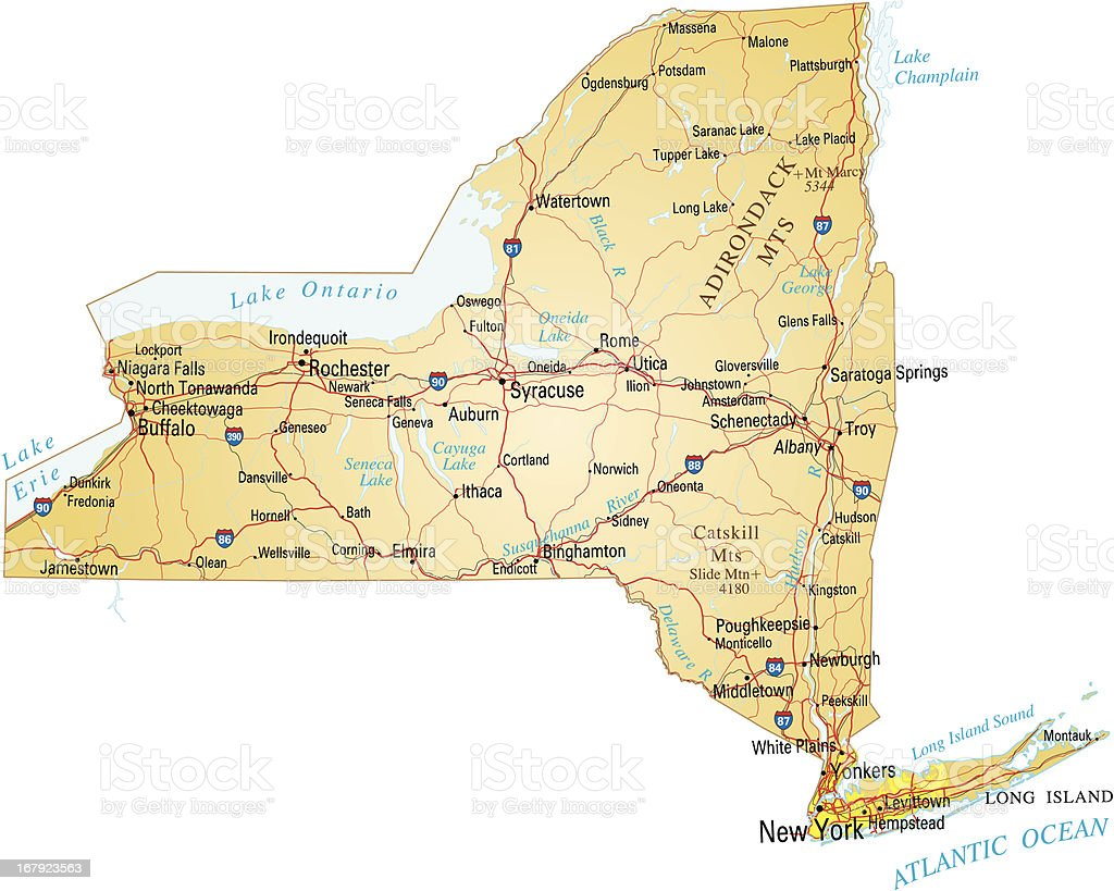 Map of New York vector art illustration