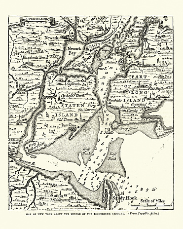 Map of New York in the mid 18th Century