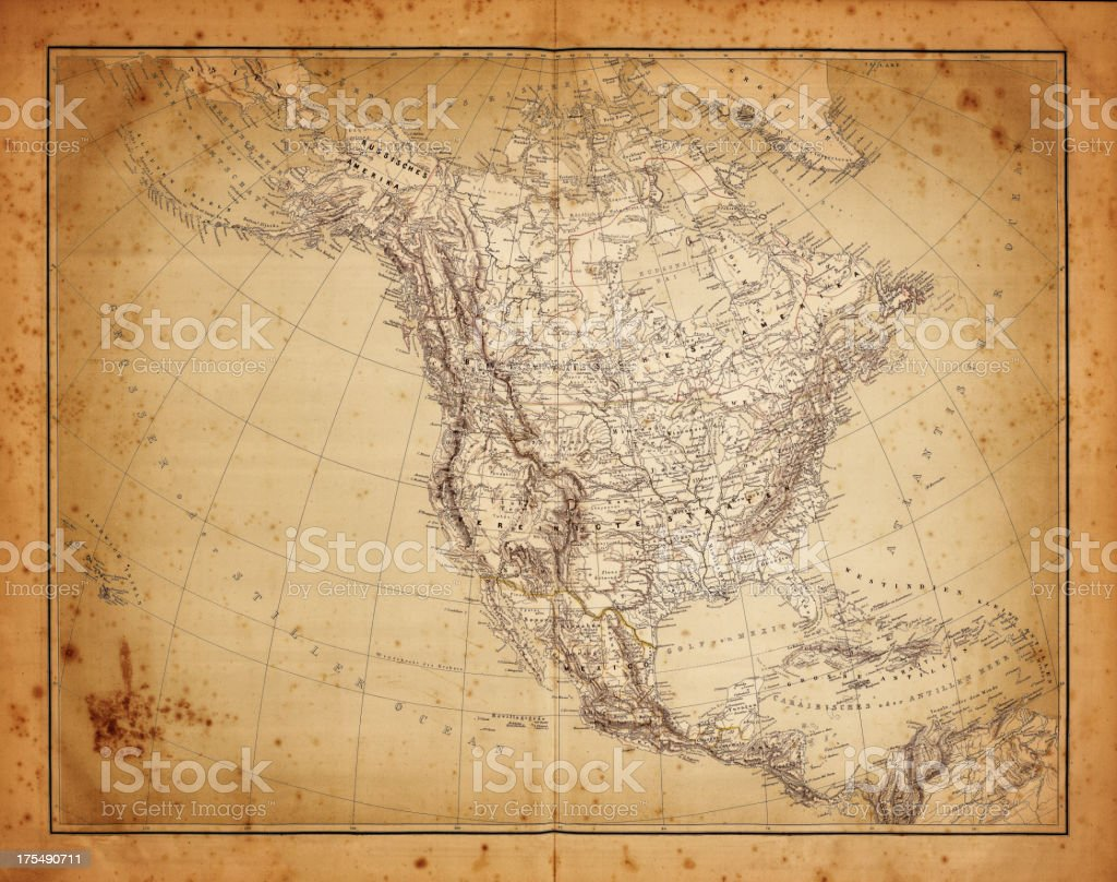 map of north america 1864 vector art illustration