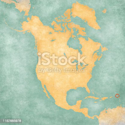 Antigua and Barbuda on the map of North America in soft grunge and vintage style, like old paper with watercolor painting.