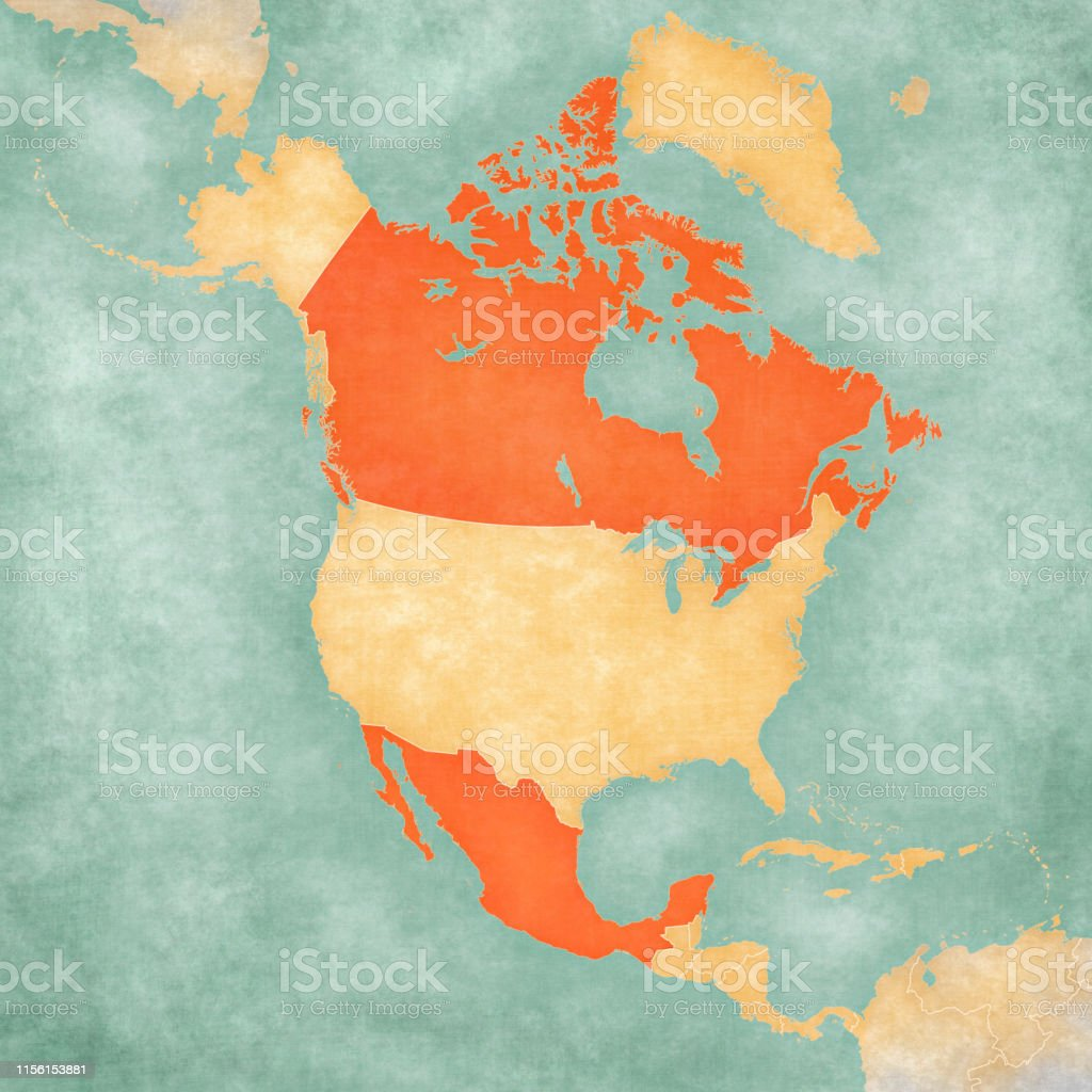 Canada and Mexico on the map of North America in soft grunge and...