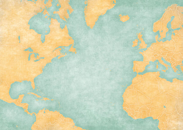Map of North Atlantic - Blank map (Vintage Series) Blank map of North Atlantic Ocean with country borders. The Map is in vintage summer style and sunny mood. The map has soft grunge and vintage atmosphere, like watercolor painting on old paper. atlantic ocean stock illustrations