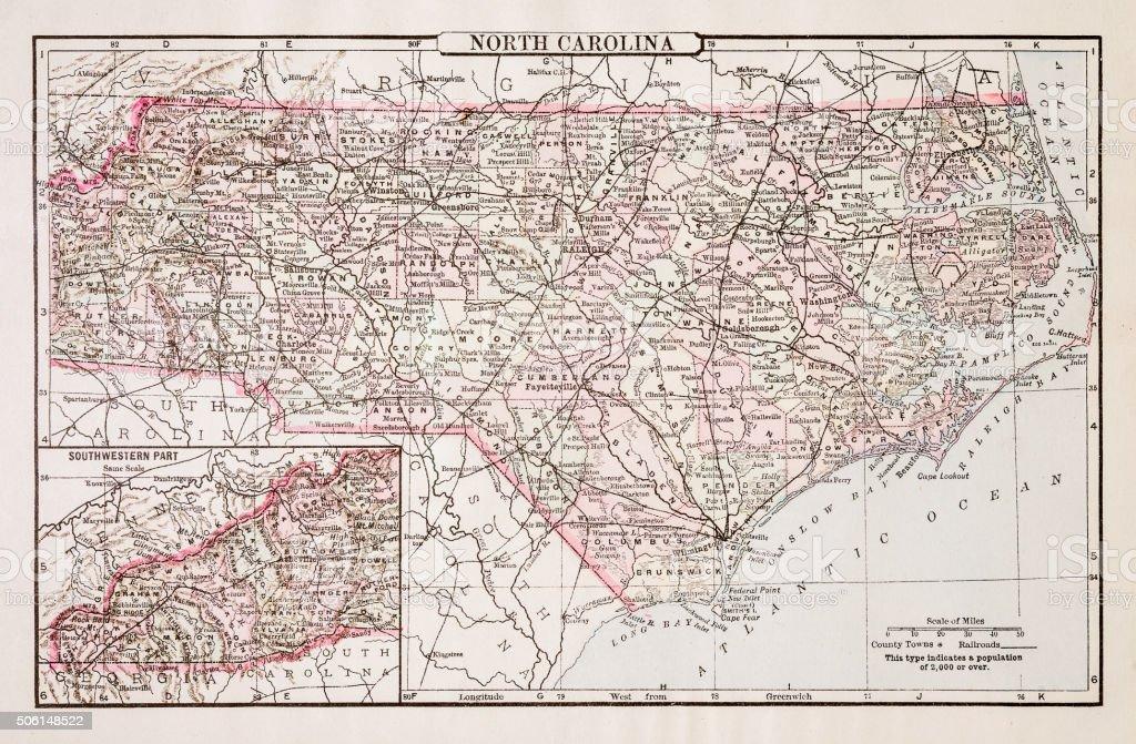 Map of North Carolina 1894 vector art illustration