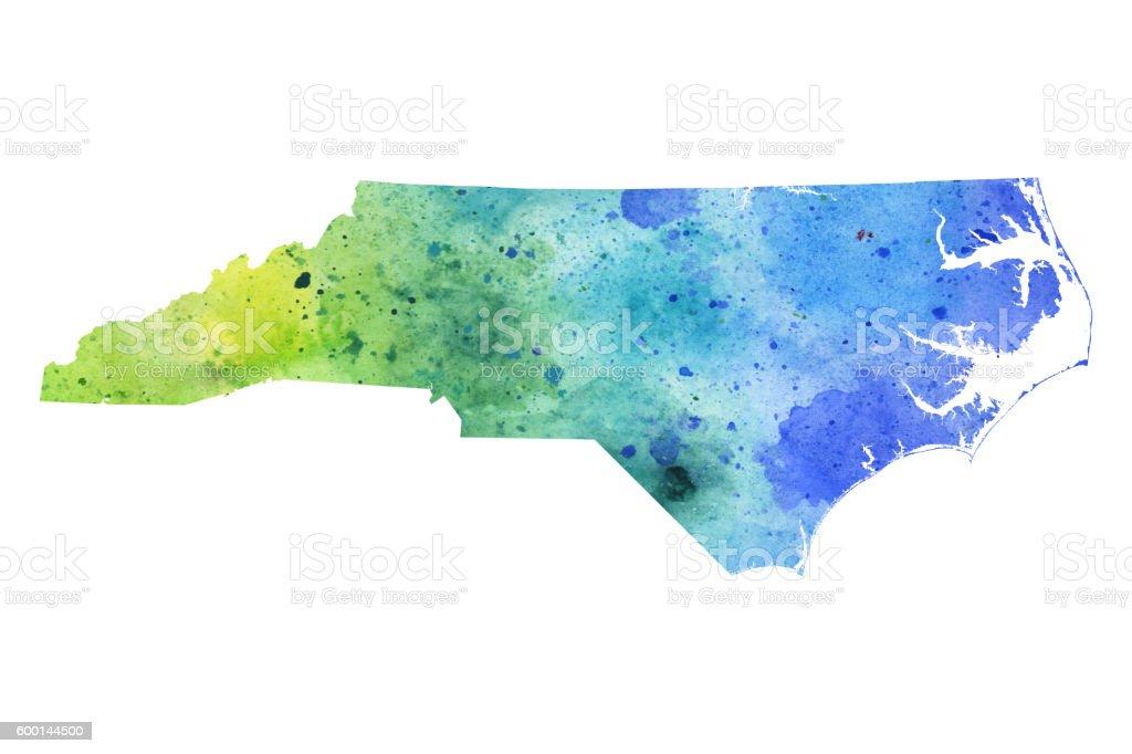 Map of North Carolina with Watercolor Texture - Raster Illustration vector art illustration