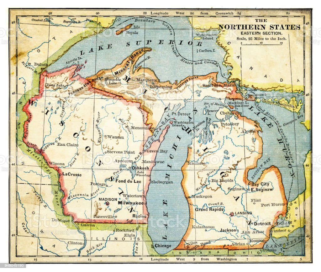Map Of North Eastern States 1883 Stock Illustration ...