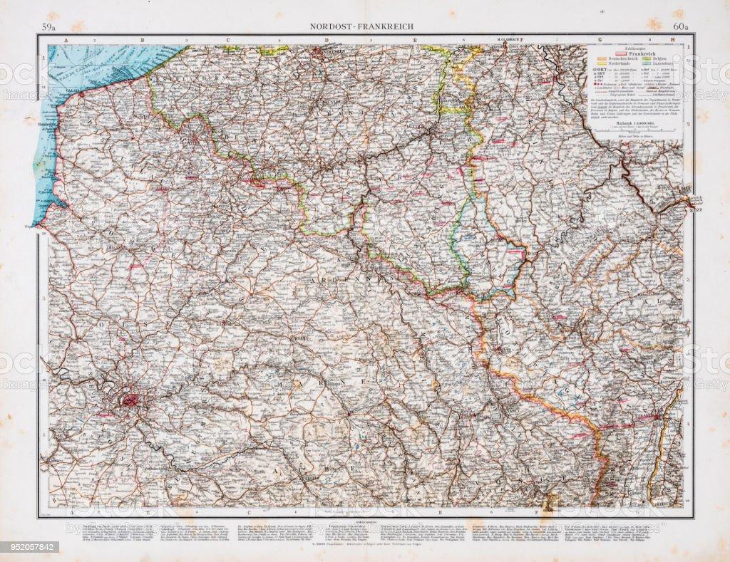 Nordfrankreich Karte.Karte Von Nordfrankreich 1896 Stock Vektor Art Und Mehr Bilder Von