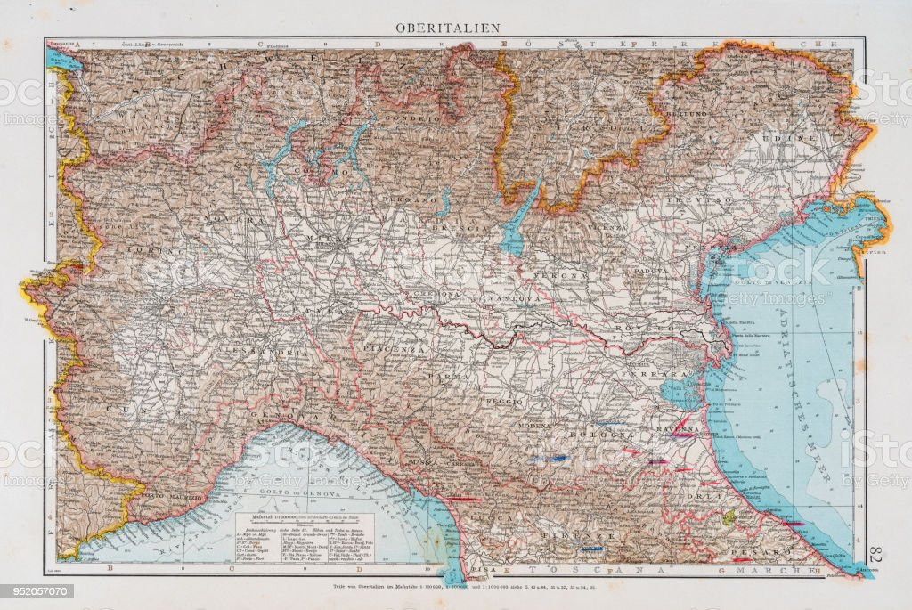 Map Of North Italy 1896 Stock Vector Art More Images Of Antique