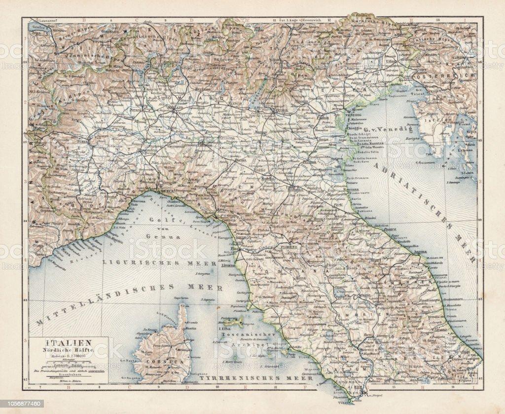 Norditalien Karte.Karte Von Norditalien 1900 Stock Vektor Art Und Mehr Bilder Von