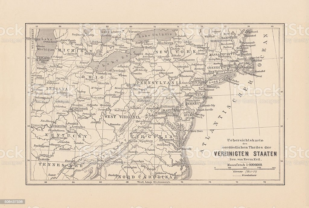 Map of Northeast United States, published in 1882 vector art illustration
