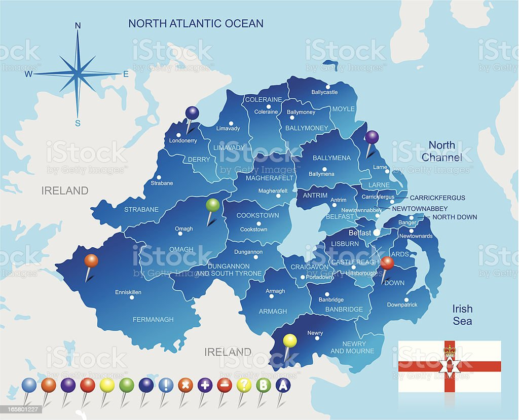 Map of Northern Ireland vector art illustration