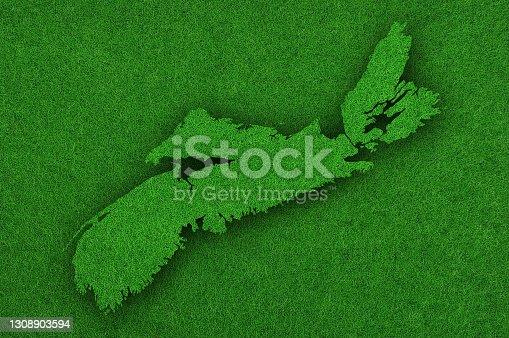 istock Map of Nova Scotia on green felt 1308903594