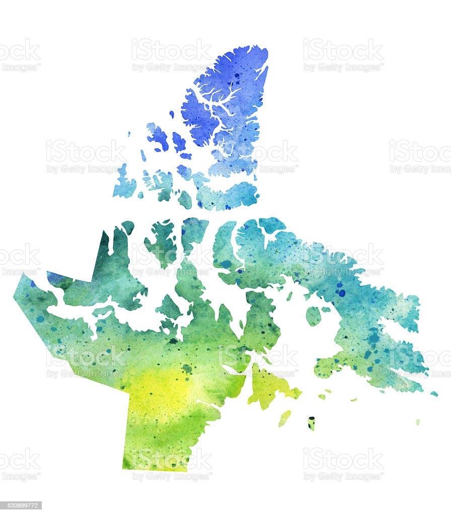 Map of Nunavut with Watercolor Texture - Raster Illustration vector art illustration