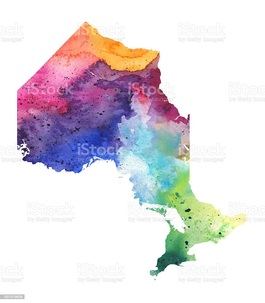 Map of Ontario with Watercolor Texture - Raster Illustration vector art illustration