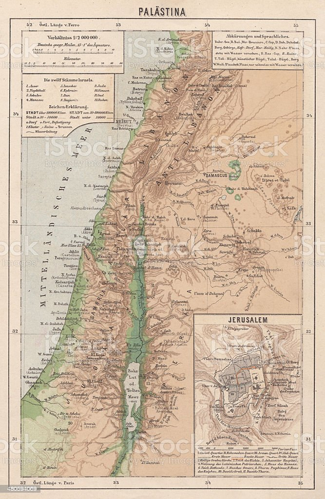 Map of Palestine and Jerusalem, lithograph, published in 1881 vector art illustration