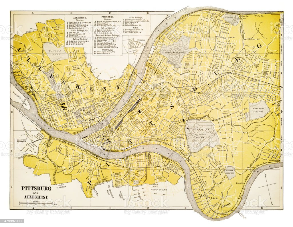 Map Of Pittsburgh 1894 Stock Vector Art More Images Of 1880 1889