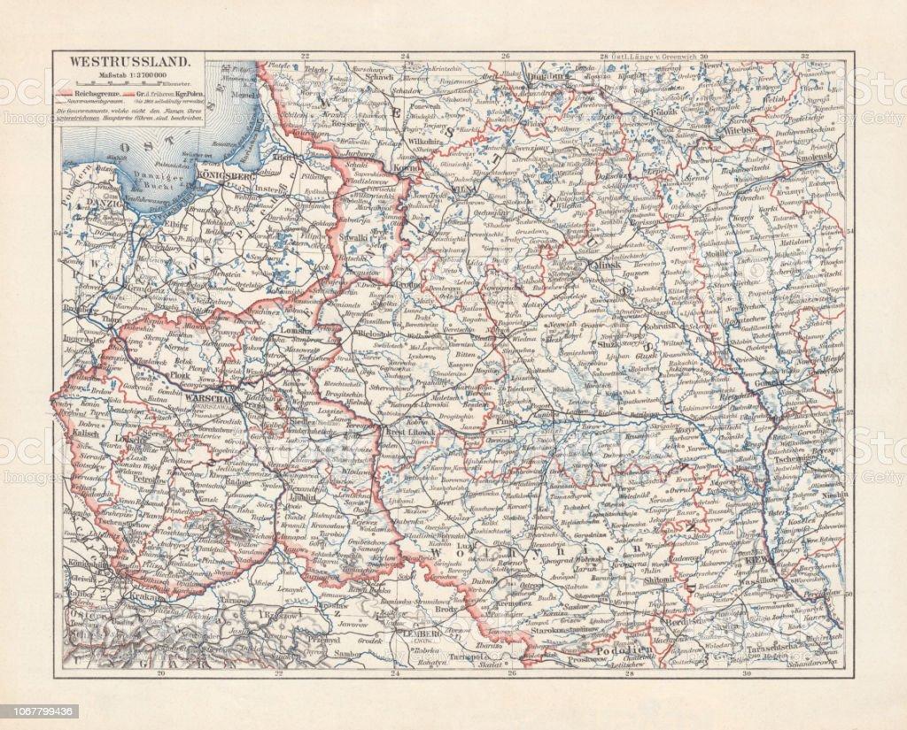 Polen Karte.Karte Von Polen Und Westrussland Lithographie Veröffentlicht 1897