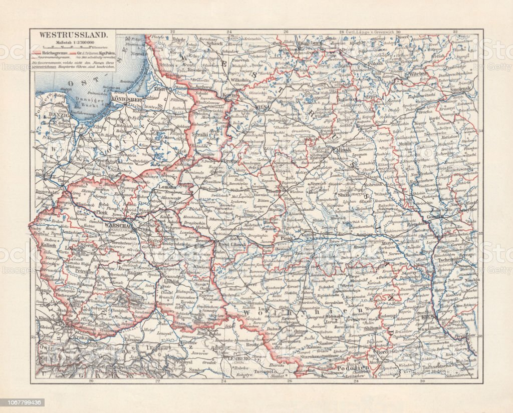 Map of Poland and Western Russia (Belarus), lithograph, published 1897 vector art illustration