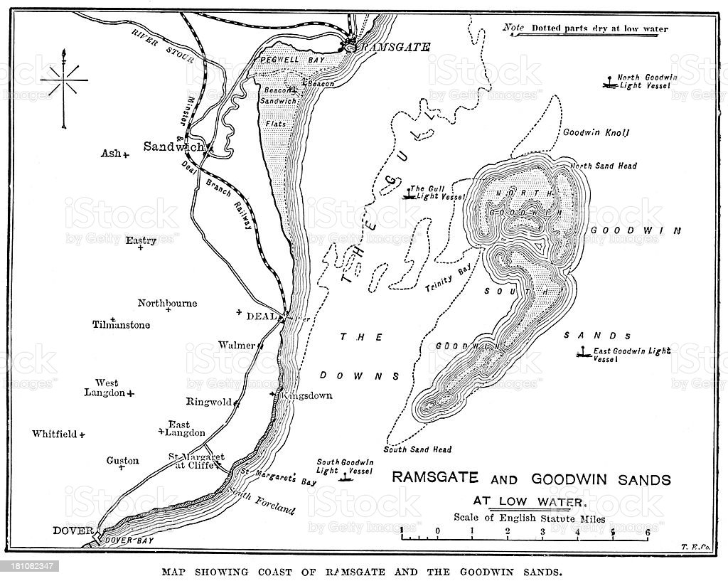 Map Of Ramsgate And Goodwin Sands Stock Illustration