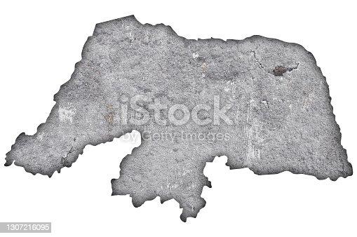 istock Map of Rio Grande do Norte on weathered concrete, 1307216095
