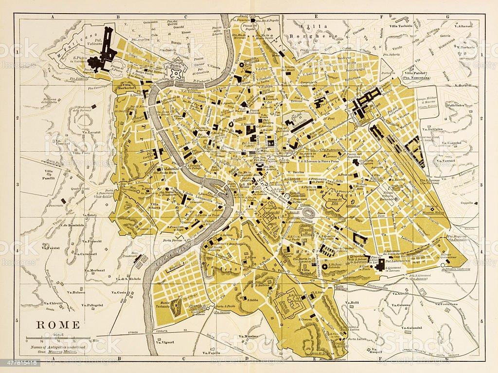 Map of Rome 1894 vector art illustration