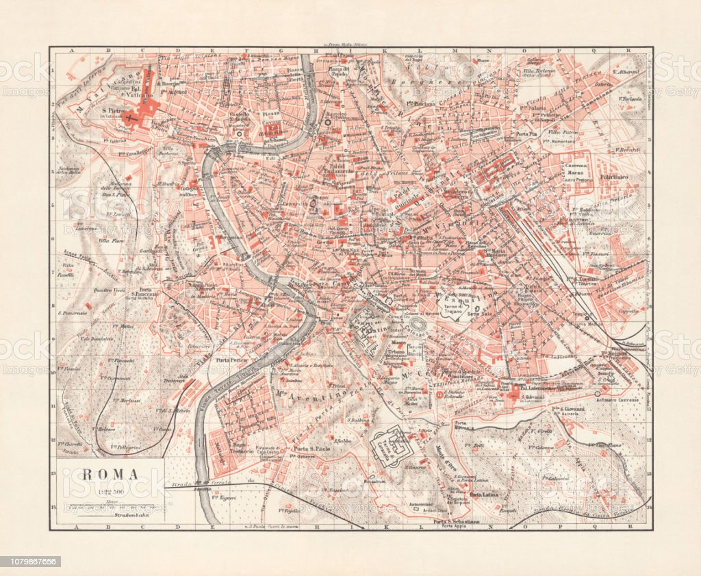 Map Of Germany And Italy With Cities.Map Of Rome Capital City Of Italy Lithograph Published 1897 Stock