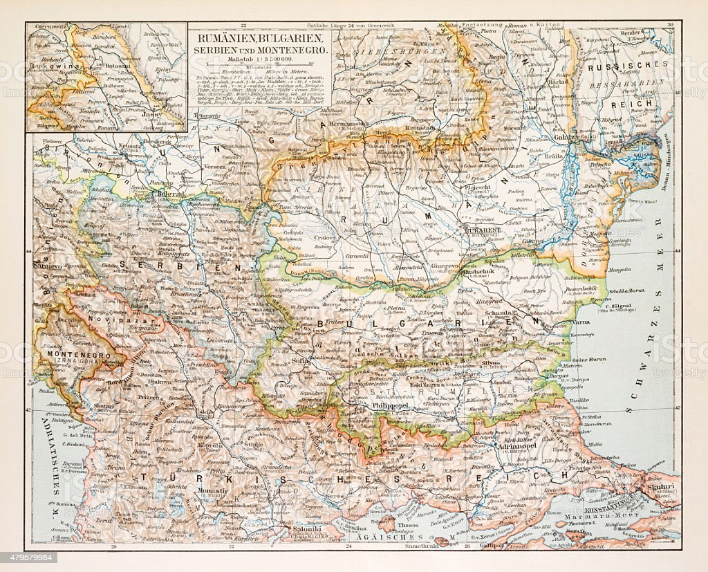 Map of Rumania Bulgaria 1896 vector art illustration