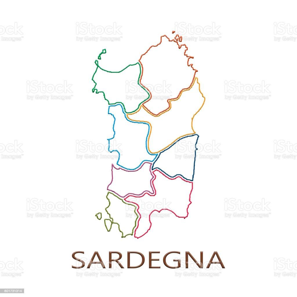 Gammal Karta Italien.Karta Over Sardinien Regionen Pa Vit Bakgrund Vektorgrafik Och Fler