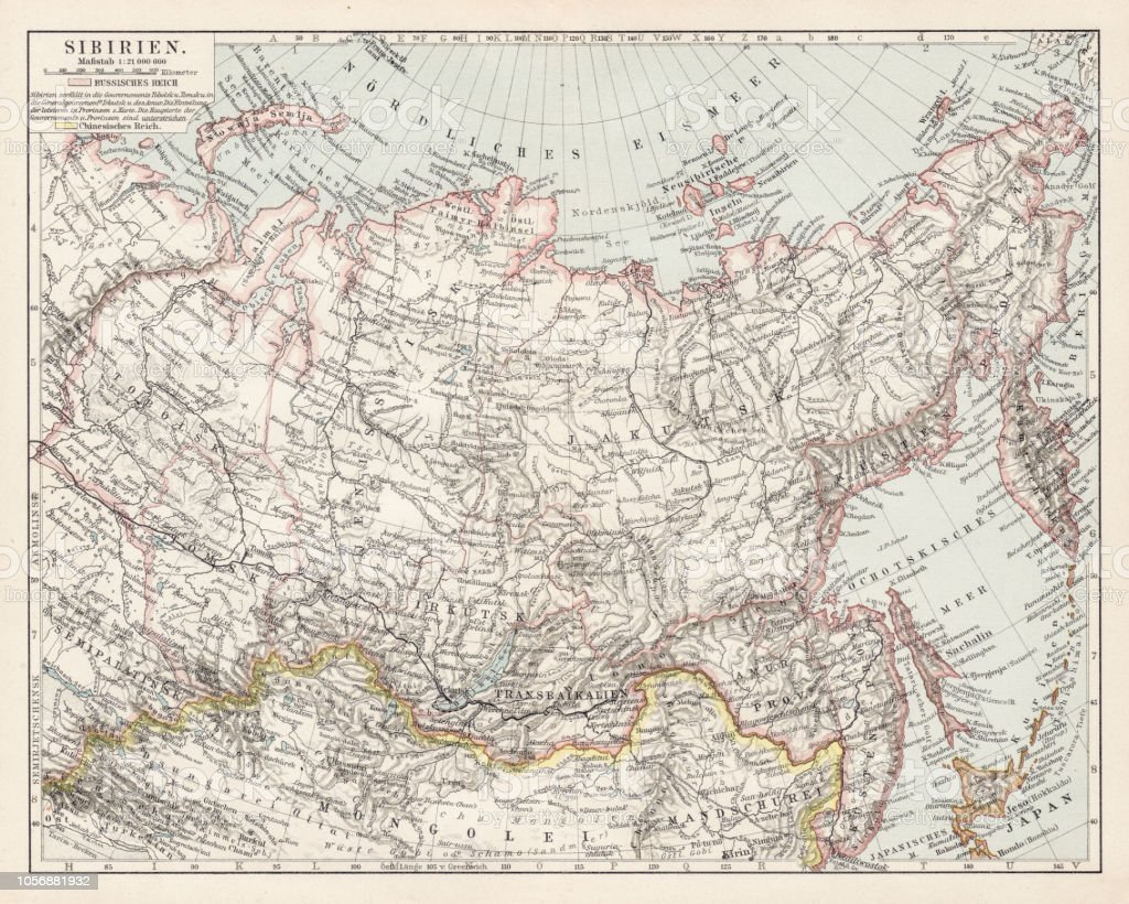 Map Of Asia 1900.Map Of Siberia 1900 Stock Illustration Download Image Now Istock