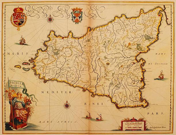 mapa sycylia 1635 - sicily stock illustrations