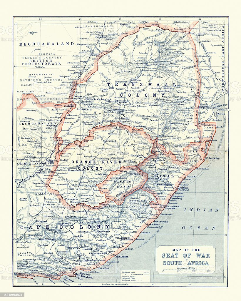 Map of South Africa during the Second Boer War vector art illustration