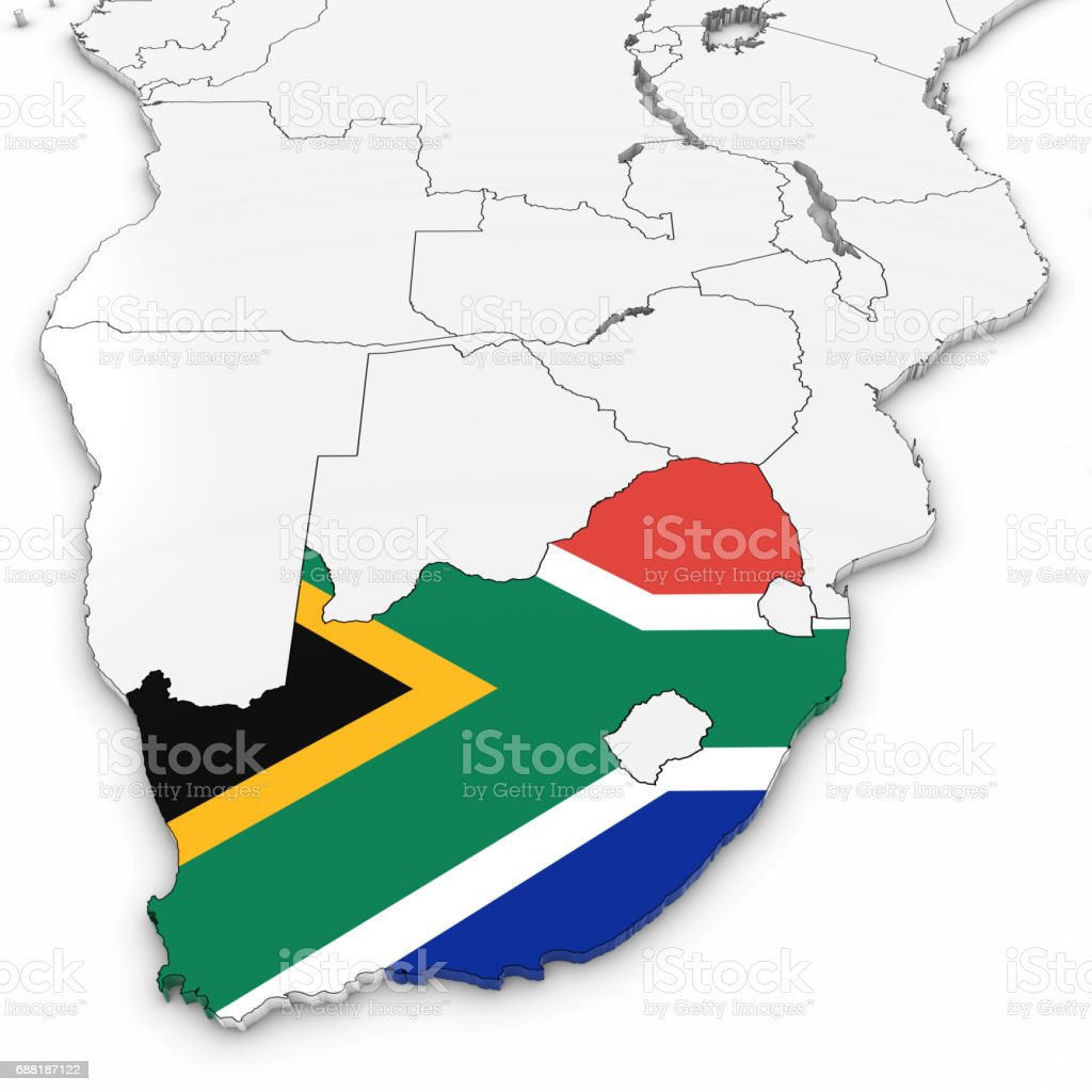 Flag Map Of Africa.3d Map Of South Africa With South African Flag On White Background